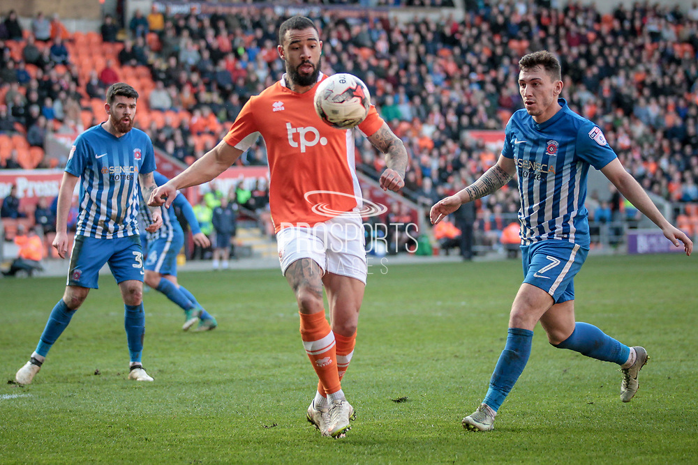 Kyle Vassell (Blackpool) about to strike the ball with his back to the goal, twisting and sending a goal bound effort inside the far post to make it 2-1 to the home side and collect all three points for Blackpool during the EFL Sky Bet League 2 match between Blackpool and Hartlepool United at Bloomfield Road, Blackpool, England on 25 March 2017. Photo by Mark P Doherty.