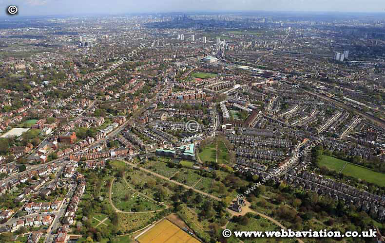 aerial photograph of the West Hampstead Camden Greater London England UK