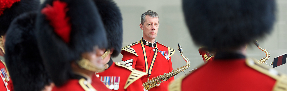 The Band of the Coldstream Guards outside the <br /> BBC, Broadcasting House, London, Great Britain <br /> 9th April 2017 <br /> <br /> <br /> <br /> <br /> The band of the Coldstream Guards <br /> after playing  &quot;Pacific&quot; live on BBC Radio 4 <br /> to promote the forthcoming St George's Day concert at Cadogan Hall, Chelsea on 22nd April 2017 in aid of Combat Stress <br /> <br /> Photograph by Elliott Franks <br /> Image licensed to Elliott Franks Photography Services