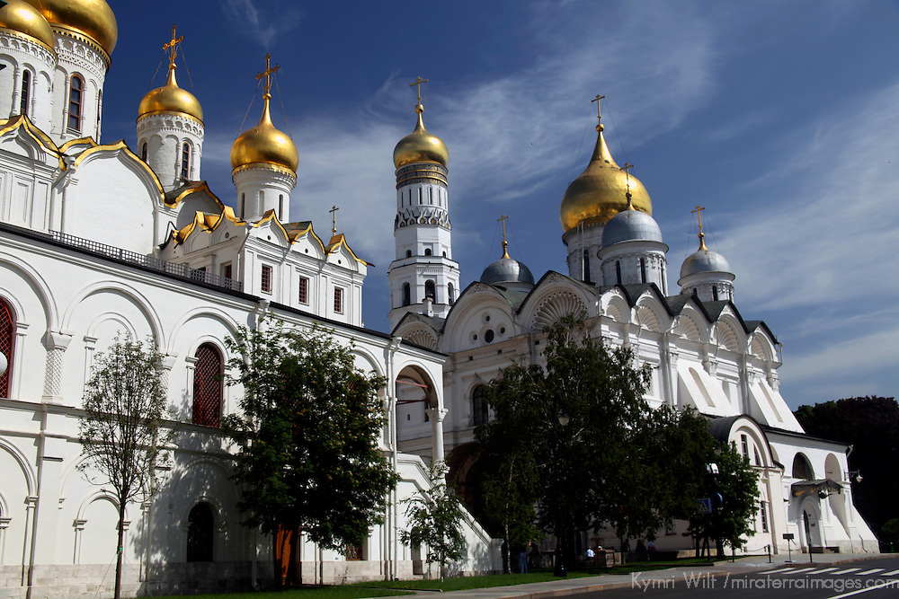 Europe, Russia, Moscow. Cathedral Domes of the Kremlin.