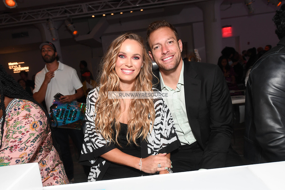 David Lee and Caroline Wozniacki attends Klarna STYLE360 NYFW Hosts S by Serena Fashion Show