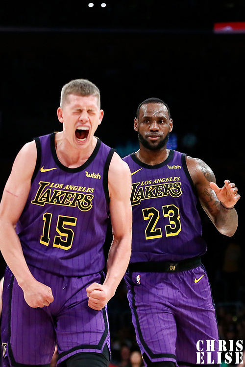LOS ANGELES, CA - MAR 29: Moritz Wagner (15) of the Los Angeles Lakers celebrates next to LeBron James (23) of the Los Angeles Lakers during a game on March 29, 2019 at the Staples Center, in Los Angeles, California.