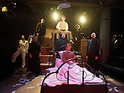 Stephen Sondheim's <br /> Road Show<br /> at the Menier Chocolate Factory, London, Great Britain <br /> press photocall <br /> 5th July 2011 <br /> <br /> European Premier<br /> <br /> <br /> David Bedella (as Wilson Mizner)<br /> & Company <br /> Photograph by Elliott Franks