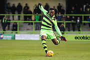 Forest Green Rovers Manny Monthe(6) passes the ball forward during the EFL Sky Bet League 2 match between Forest Green Rovers and Port Vale at the New Lawn, Forest Green, United Kingdom on 6 January 2018. Photo by Shane Healey.