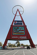 ANAHEIM, CA - MAY 15:  The Big A looms large above the parking lot at the Los Angeles Angels of Anaheim game against the Oakland Athletics on Tuesday, May 15, 2012 at Angel Stadium in Anaheim, California. The Angels won the game 4-0. (Photo by Paul Spinelli/MLB Photos via Getty Images)
