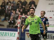 HÅNDBOLD: Nichlas Poulsen (Nordsjælland) under kampen i 888-Ligaen mellem Nordsjælland Håndbold og TTH Holstebro den 28. marts 2018 i Helsingør Hallen. Foto: Claus Birch.
