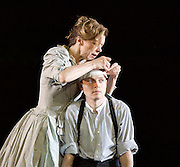 The Seagull <br /> by Anton Chekhov <br /> a new version by Torben Betts<br /> directed by Matthew Dunster<br /> at Regent's Park Open Air Theatre, London, Great Britain <br /> press photocall <br /> 22nd June 2015 <br /> <br /> Janie Dee as Irina<br /> <br /> Matthew Tennyson as Konstantin<br /> <br /> <br /> <br /> Photograph by Elliott Franks <br /> Image licensed to Elliott Franks Photography Services