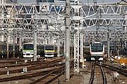 Tokyo, October 25 2011 - At Shinjuku train station, 3 lines connecting : Yamanote sen (green), Sobu sen (yellow) and Chuo sen (orange).