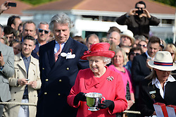 HM THE QUEEN and ARNAUD BAMBERGER at the 2013 Cartier Queens Cup Polo at Guards Polo Club, Berkshire on 16th June 2013.