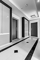 Black and white photo of rental apartment business interior