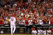 29 June 2010: St. Louis Cardinals pitcher Adam Wainwright (50) walks to the dugout as the crowd cheers during a game against the Arizona Diamondbacks  at Busch Stadium in St. Louis, Missouri. The Cardinals would win 8-0 over Arizona...