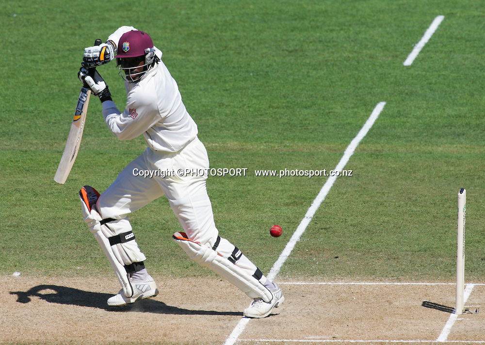 Chris Gayle plays a shot to bring up his century Second Test Match, National Bank Test Series. New Zealand v West Indies. McLean Park, Napier. 22 December 2008,  Photo: John Cowpland/PHOTOSPORT