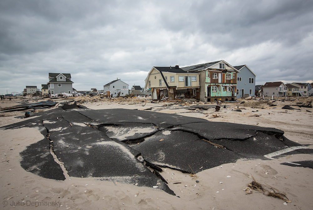 November 18, Ortley Beach, NJ, Road closet to the Atlantic ocean destroy by Superstorm Sandy's surge