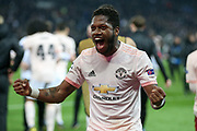Manchester United Midfielder Fred celebrates after the whistle during the Champions League Round of 16 2nd leg match between Paris Saint-Germain and Manchester United at Parc des Princes, Paris, France on 6 March 2019.