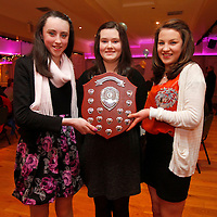 06/01/12<br /> Under 14's - Deirdre Cotter, Kilkishen, Aishling McMahon, Doora Barefield and Marie O'Looney, Inagh pictured at the Clare Camogie Board Awards Night which took place at The Auburn Lodge Hotel, Ennis on Friday Night.<br /> Pic: Don Moloney/Press 22