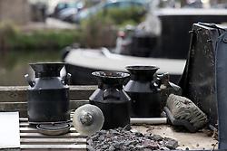 UK ENGLAND LONDON 30APR16 - Detail of items on top of London Canal boats near Haggerston, east London.<br /> <br /> jre/Photo by Jiri Rezac<br /> <br /> © Jiri Rezac 2016