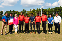 September 22, 2018 - Morrisville, North Carolina, US - Sept. 22, 2018 - Morrisville N.C., USA - Members of the  International Cricket Council (ICC) and officials from the city of Morrisville, N.C., pose for a group photo before the ICC World T20 America's ''A'' Qualifier cricket match between USA and Canada. Both teams played to a 140/8 tie with Canada winning the Super Over for the overall win. In addition to USA and Canada, the ICC World T20 America's ''A'' Qualifier also features Belize and Panama in the six-day tournament that ends Sept. 26. (Credit Image: © Timothy L. Hale/ZUMA Wire)