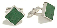 stadium cuff links in green and silver