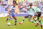 Derby County midfielder Bradley Johnson (15) goes into a tackle with Reading FC midfielder (12) Gareth McCleary during the EFL Sky Bet Championship match between Reading and Derby County at the Madejski Stadium, Reading, England on 1 October 2016. Photo by Mark Davies.