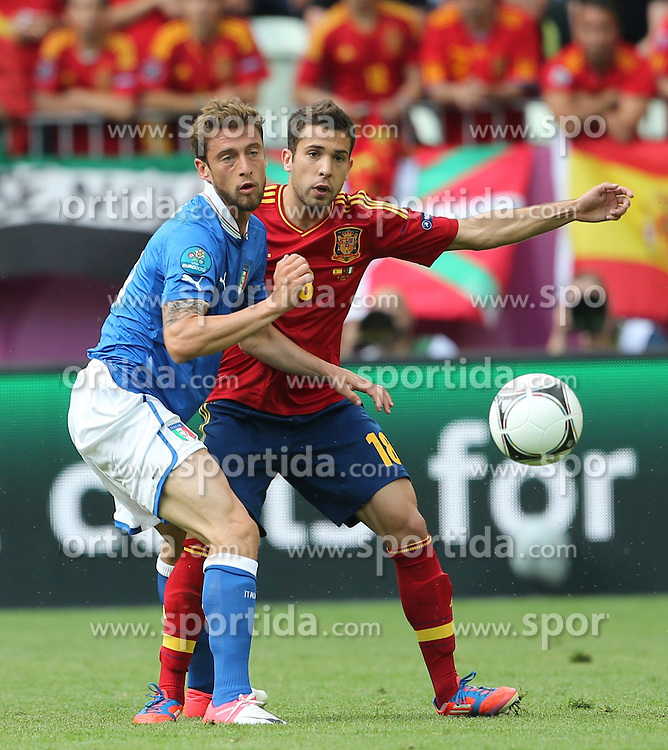 10.06.2012, Arena Gdansk, Danzig, POL, UEFA EURO 2012, Spanien vs Italien, Gruppe C, im Bild DANIELE DE ROSSI (ITA), JORDI ALBA (ESP) // during the UEFA Euro 2012 Group C Match between Spain and Italy at the Arena Gdansk, Gdansk, Poland on 2012/06/10. EXPA Pictures © 2012, PhotoCredit: EXPA/ Newspix/ Adam Jastrzebowski..***** ATTENTION - for AUT, SLO, CRO, SRB, SUI and SWE only *****