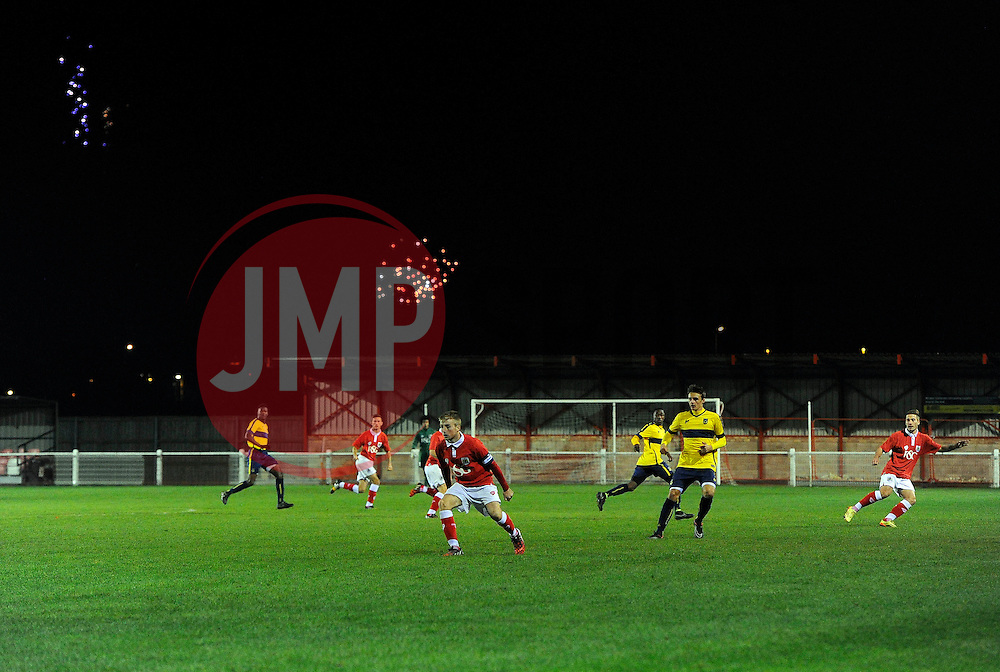 Bristol City play in front of fire works  - Photo mandatory by-line: Joe Meredith/JMP - Mobile: 07966 386802 - 05/11/2014 - SPORT - Football - Oxford - Loop Meadow Stadium - Oxford United v Bristol City - FA Youth Cup