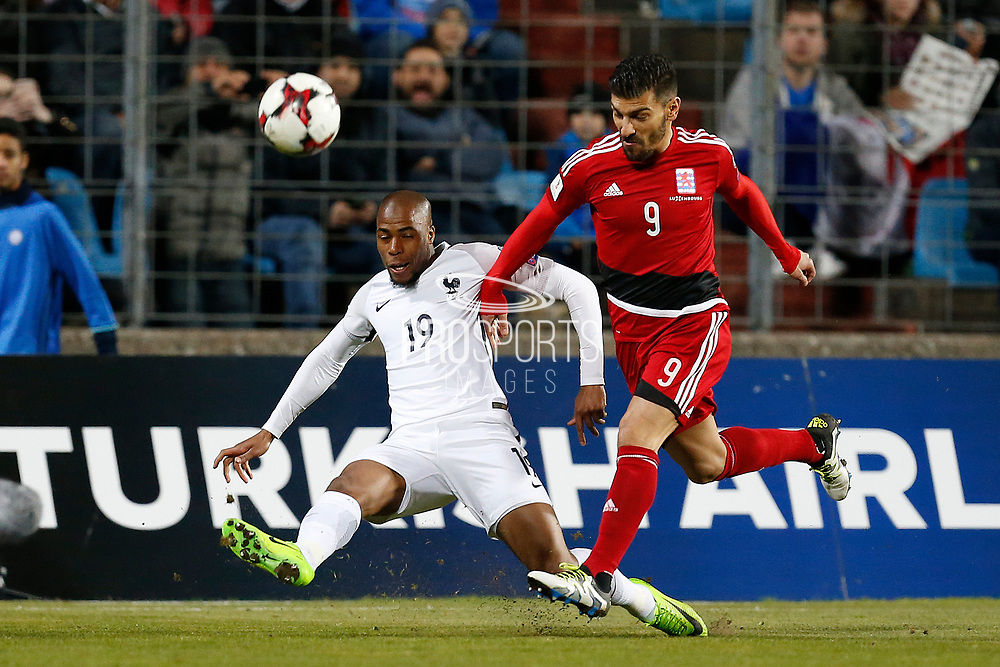 France's defender Djibril Sidibe passes the ball during the FIFA World Cup 2018 qualifying football match, Group A, between Luxembourg and France on March 25, 2017 at Josy Barthel stadium in Luxembourg - Photo Benjamin Cremel / ProSportsImages / DPPI