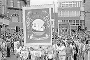 Wistow and Stillingfleet banners. 1988 Yorkshire Miner's Gala. Wakefield.