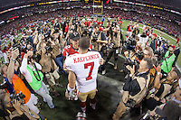 20 January 2013: Quarterback (7) Colin Kaepernick of the San Francisco 49ers celebrates after defeating the Atlanta Falcons 28-24 in the NFC Championship Game at the Georgia Dome in Atlanta, GA to go to Superbowl XLVII.