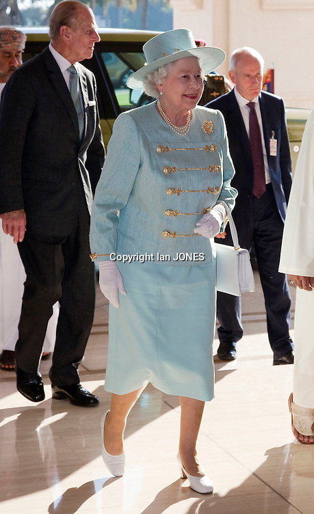 MUSCAT, OMAN - NOVEMBER 27:  Britain's Queen Elizabeth attends an equestrian event involving horse racing, cavalry displays and horsemanship skills at the Royal Cavalry Show Ground in Muscat , Oman.