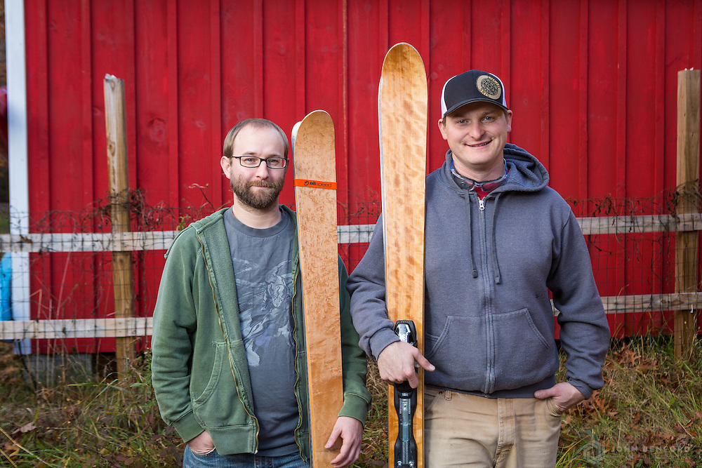 Travis Legassie (l) and EJ Martin, owners of Lucid Skis in Gray.