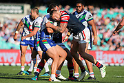 Jared Waerea-Hargreaves tackles Leeson Ah Mau. Sydney Roosters v Vodafone Warriors. NRL Rugby League. Sydney Cricket Ground, Sydney, Australia. 18th August 2019. Copyright Photo: David Neilson / www.photosport.nz