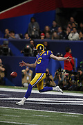 Los Angeles Rams punter Johnny Hekker (6) in action during the NFL Super Bowl 53 football game against the New England Patriots on Sunday, Feb. 3, 2019, in Atlanta. The Patriots defeated the Rams 13-3. (©Paul Anthony Spinelli)
