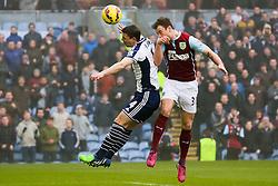 Burnley's Ashley Barnes heads in the opening goal - Photo mandatory by-line: Matt McNulty/JMP - Mobile: 07966 386802 - 08/02/2015 - SPORT - Football - Burnley - Turf Moor - Burnley v West Brom - Barclays Premier League