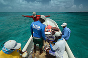 Setting long lines for Shark capture for Research<br /> MAR Alliance is performing population assessments on Sharks, Rays, and Great Barracuda to aid with management and protection. They are collecting samples to determine methyl mercury levels.<br /> MAR Alliance<br /> Lighthouse Reef Atoll<br /> Belize<br /> Central America