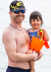 © Licensed to London News Pictures. 07/07/2016. Brighton, UK. 3 year old NINA sand her dad JAKE are spending the day on the beach in Brighton and Hove as sunny and hot weather continues to hit the seaside resort (permission granted and contact details on file). Photo credit: Hugo Michiels/LNP