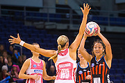 Erikana Pedersen of the Tactix during the ANZ Championship Netball game between the Mainland Tactix v Adelaide Thunderbirds at Horncastle Arena in Christchurch. 20th April 2015 Photo: Joseph Johnson/www.photosport.co.nz