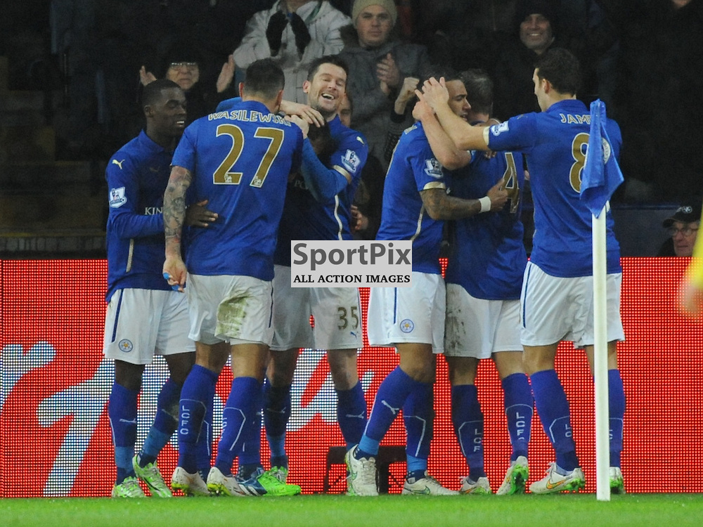Leicester Celebrate their Equaliser 1-1, Leicester City v Tottenham Hotspur, Premier League, King Power Stadium, Friday, Boxing Day, 26th December 2014