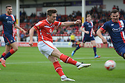 Tom Bradshaw gets in a shot during the Sky Bet League 1 match between Walsall and Doncaster Rovers at the Banks's Stadium, Walsall, England on 12 September 2015. Photo by Alan Franklin.