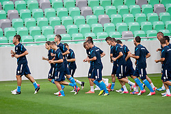 Players running at first practice before friendly football match between National teams of Slovenia and Romania, on August 13, 2012 in SRC Stozice, Ljubljana, Slovenia. (Photo by Matic Klansek Velej / Sportida.com)