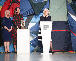 February 19, 2019 - London, United Kingdom - HRH Duchess of Cornwall Camilla presents Elizabeth II Award for young talents in fashion to the winner Bethany Williams during London Fashion Week February 2019 at the BFC show space on February 19, 2019 in London, England. (Credit Image: © Dominika Zarzycka/NurPhoto via ZUMA Press)