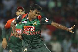 March 18, 2018 - Colombo, Sri Lanka - Bangladesh cricketer Rubel Hossain celebrates during the final Twenty-20 cricket match of NIDAHAS Trophy  between Bangladesh and India at R Premadasa cricket ground, Colombo, Sri Lanka on Sunday 18 March 2018. (Credit Image: © Tharaka Basnayaka/NurPhoto via ZUMA Press)