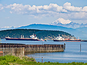 "Mount Baker (10,775 feet elevation) rises in the North Cascades 40 miles away from oil tankers in Anacortes, on Fidalgo Island in Skagit County, Washington, USA. Anacortes is known for its Washington State Ferries terminal serving San Juan Islands, Guemes Island, and Victoria via Sidney, British Columbia. ""Anacortes"" is a consolidation of the name Anna Curtis, who was the wife of early Fidalgo Island settler Amos Bowman."