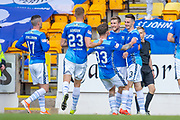 Goal - Scott Tanser (#3) of St Johnstone FC celebrates with his team mates after scoring a penalty during the Ladbrokes Scottish Premiership match between St Johnstone and Motherwell at McDiarmid Stadium, Perth, Scotland on 11 May 2019.