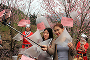 QINGYUAN, CHINA - MARCH 19: (CHINA OUT) <br /> <br /> Visitors collect clean air in north area of Guangdong Province where mountains surround with clean air on March 19, 2016 in Qingyuan, Guangdong Province of China. Urban citizens in north China\'s Guangdong Province get away from smog-stricken cities to mountain-surrounded north areas and local residents think up an idea of selling clean air that a small bag of air sells 10 yuan and a larger one 30 yuan. The activity seems to be an effective way to promote environmental protect both in urban and rural areas, said a visitor.<br /> ©Exclusivepix Media