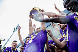 Marcos Tavares #9 of Maribor and other players of NK Maribor celebrate after NK Maribor became Slovenian National Champion 2015 after football match between NK Maribor and NK Luka Koper in 36th Round of Prva liga Telekom Slovenije 2014/15, on May 30, 2015 in Stadium Ljudski vrt Maribor, Slovenia. Photo by Vid Ponikvar / Sportida