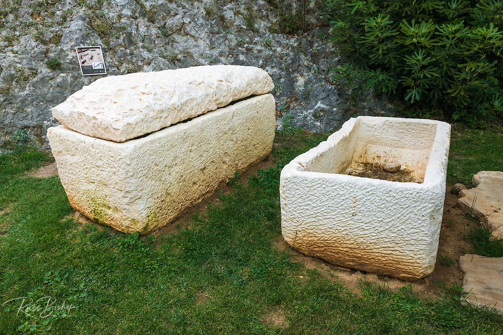 Sarcophagi from 9th century Croatian cemetery, Skradin, Dalmatia, Croatia