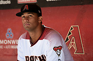 PHOENIX, AZ - APRIL 2:  Randall Delgado #48 of the Arizona Diamondbacks looks on from the dugout prior to the game against the San Francisco Giants at Chase Field on Sunday, April 2, 2017 in Phoenix, Arizona. (Photo by Jennifer Stewart/MLB Photos via Getty Images) *** Local Caption *** Randall Delgado