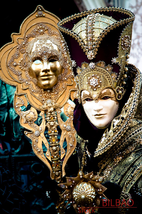 people with fancy dress in Carnival of Venice. Venice, Italy.