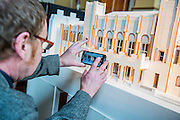 Royal Academician Richard Wilson examines. Achitect, Sir David Chipperfield unveils plans for a major redevelopment of the Royal Academy of Arts which will be completed in time for its 250th anniversary in 2018. The project is the most important development of the Royal Academy in its history.  The development will allow key works from the Royal Academy's Collection to be brought out of store and go on view to the public. These include Queen Victoria's paintbox, Turner's travelling watercolour box, Joshua Reynolds' diaries, a rarely displayed Pissarro drawing, and letters between artists such as Thomas Gainsborough to Sir Joshua Reynolds. 11 May 2015.