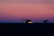 Well after sunset, a farmer works to harvest his crop of soy beans here in east central Illinois.